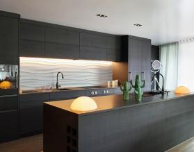 BIAŁE FALE - minimalistyczny panel szklany do kuchni