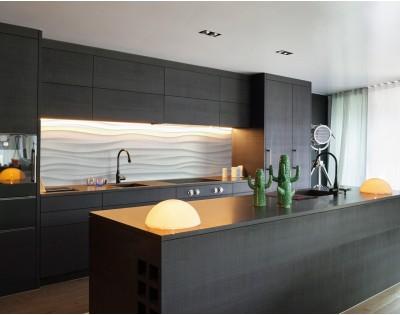 Białe Fale Minimalistyczny Hartowany Panel Szklany Do Kuchni