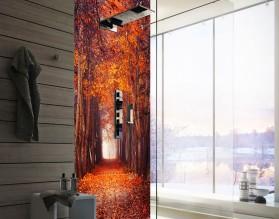 JESIENNA ALEJA - panel szklany do łazienki na wymiar