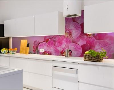 RÓŻOWA ORCHIDEA - kuchenny hartowany panel szklany