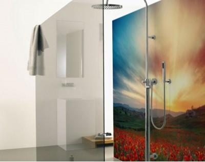 SIELANKOWY KRAJOBRAZ - hartowany panel szklany do łazienki