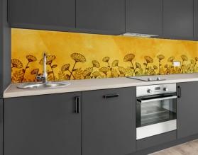KWIATY ILUSTROWANE - hartowany panel szklany do kuchni na wymiar