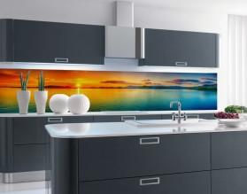 KRAJOBRAZ Z ZACHODEM SŁOŃCA - hartowany panel szklany do kuchni na wymiar