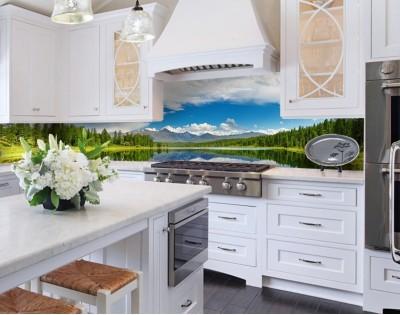GÓRSKIE JEZIORO - hartowany panel szklany do kuchni na wymiar