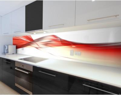 CZERWONA FALA - hartowany panel szklany do kuchni