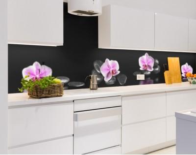 ORCHIDEE NA KAMIENIACH - kuchenny hartowany panel szklany