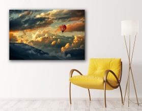 BALON W CHMURACH - obraz na szkle
