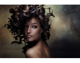 CURLY WOMAN - obraz na szkle - grafika