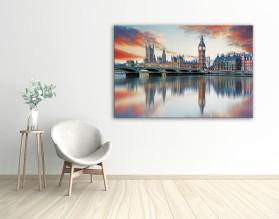 PASTELOWY LONDYN - obraz na szkle