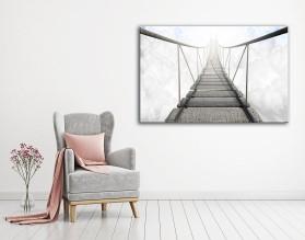 MOST LINOWY W CHMURACH - obraz na płótnie