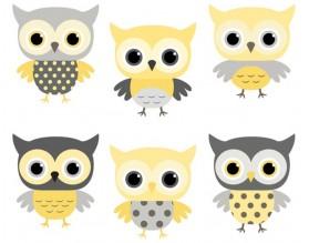 YELLOW OWL - tapeta dziecięca - grafika
