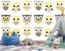 YELLOW OWL - tapeta dziecięca