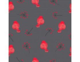 RED BIRDS - tapeta dziecięca - grafika
