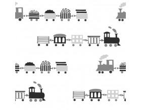 TRAINS - tapeta dziecięca - grafika