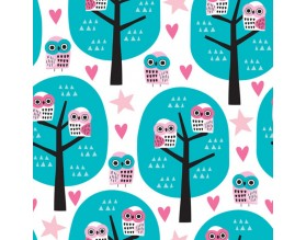 OWL TREE - tapeta dziecięca - grafika