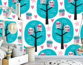 OWL TREE - tapeta dziecięca