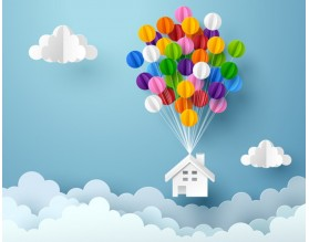 BALLOONS HOUSE - tapeta dziecięca - grafika