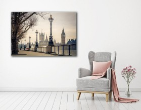 LONDYN W SEPII - obraz na płótnie