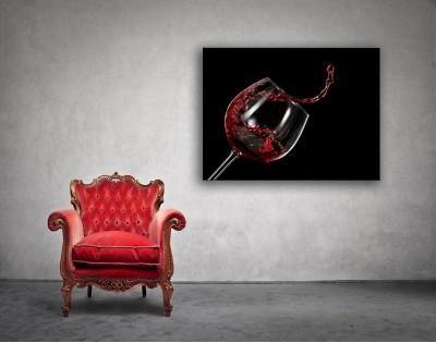 kielich chlupiące wino - obraz na płótnie