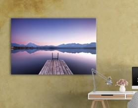 Pomost do jeziora - obraz na płótnie