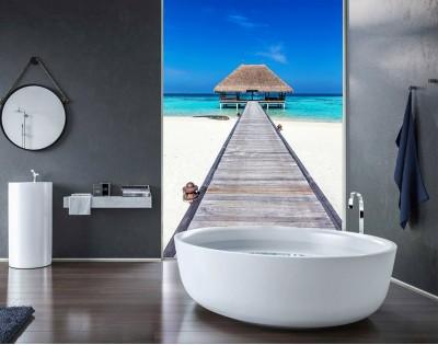 RAJSKA PLAŻA MALEDIWY - panel szklany do łazienki