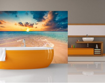 ZACHÓD SŁOŃCA NA MALEDIWACH - panel szklany do łazienki