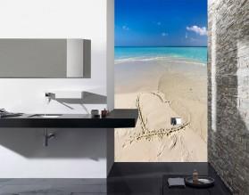 SERCE NA PLAŻY - panel szklany do łazienki