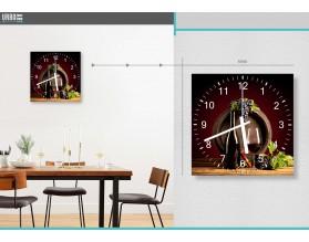 CZERWONE WINO - zegar szklany