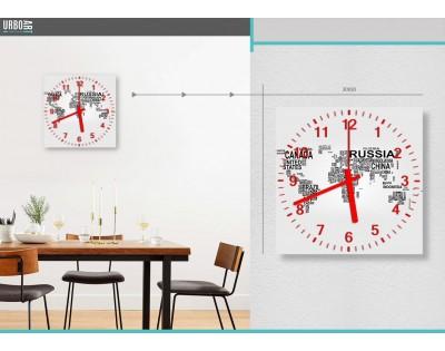 MAPA ŚWIATA - zegar szklany