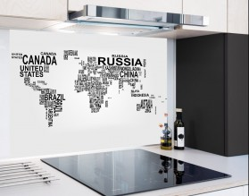 MAPA ŚWIATA - hartowany panel szklany