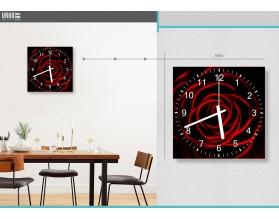 CZERWONA RÓŻA - zegar szklany