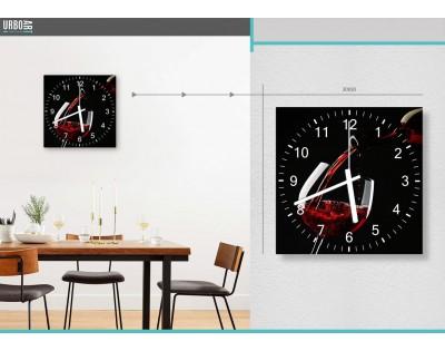 KIELISZEK WINA - zegar szklany
