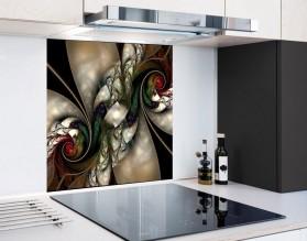 SREBRNE FRAKTALE - hartowany panel szklany