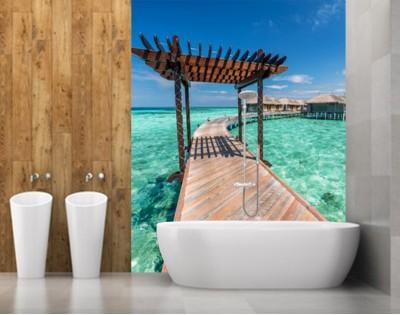 TROPIKALNY POMOST - panel szklany do łazienki