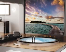 KLIMATYCZNE TROPIKI - panel szklany do łazienki