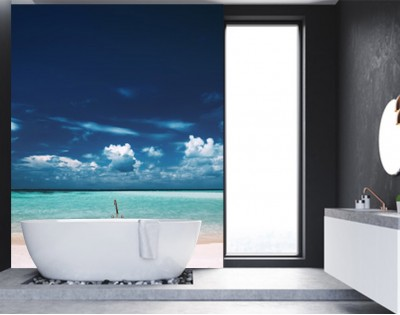 CHMURY NAD LAGUNĄ - panel szklany do łazienki