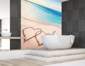 MIŁOŚĆ W TROPIKACH - panel szklany do łazienki