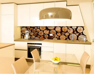 DREWNIANY MUR - panel szklany na wymiar