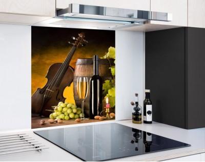 WINO I MUZYKA - panel szklany