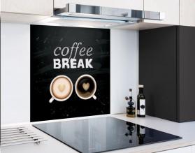COFFEE BREAK - hartowany panel szklany typograficzny