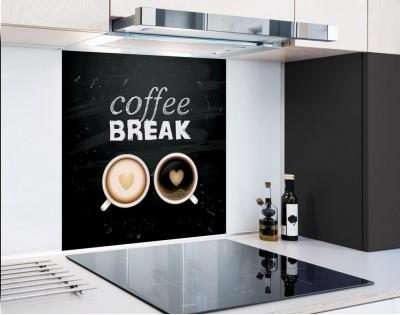 COFFEE BREAK - panel szklany typograficzny