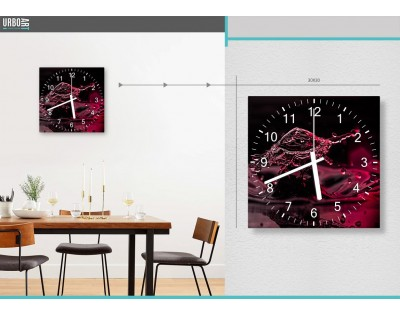 RED SPLASH - zegar szklany