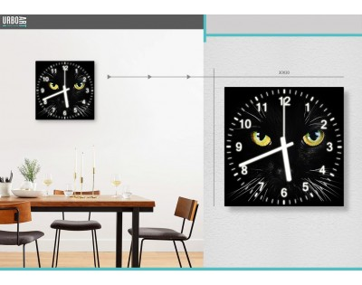 BLACK CAT - zegar szklany