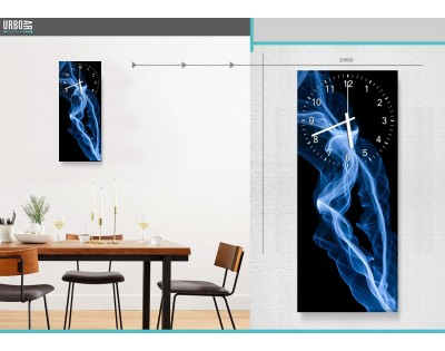 BLUE SMOKE - zegar szklany