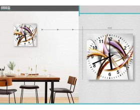 ABSTRAKCJA Z FIOLETEM - zegar szklany