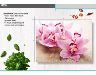 ORCHIDEE W RÓŻU - szklana deska do krojenia