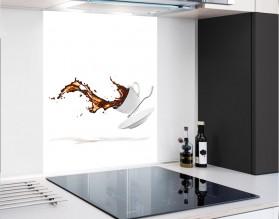 KAWA W LOCIE - hartowany panel szklany - grafika