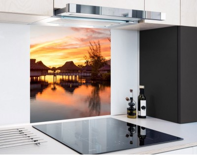 ZACHÓD SŁOŃCA NAD BORA BORA - hartowany panel szklany
