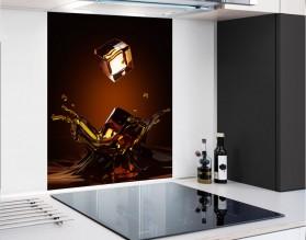 WHISKY Z LODEM - hartowany panel szklany - grafika