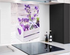 LAWENDA W SKRZYNCE - hartowany panel szklany - grafika